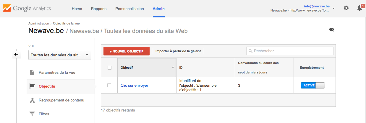 Capture compte google analytics